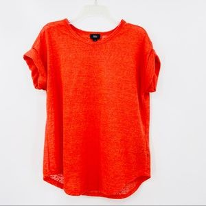 MOSSIMO Orange Sheer Blouse, Rolled Sleeve